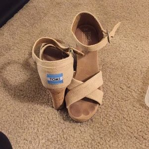 Cloth Wedge Sandals with Cork Wedge